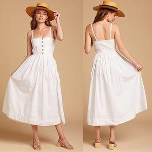 FREE PEOPLE White Lilah Maxi Pleated Tube Bohemian Dress